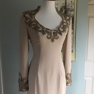 {True Vintage} Oleg Cassini nude beaded gown sz 6